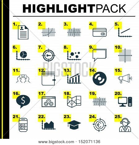 Set Of 25 Universal Editable Icons For Computer Hardware, Marketing And Statistics Topics. Includes