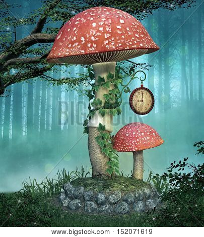 Fairies mushroom with clock - 3D illustration