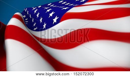 Vector illustration of United Sates of American flag. USA flag