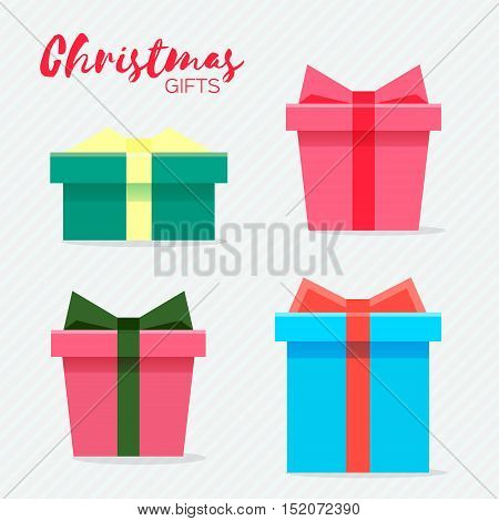 Colorful gifts box with ribbon and bow. Surprise. Different shapes collection. Vector design illustration.