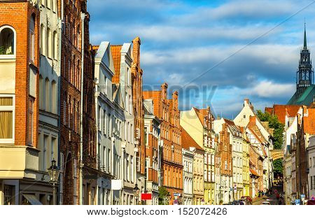 Street in the old town of Lubeck - Germany, Schleswig-Holstein