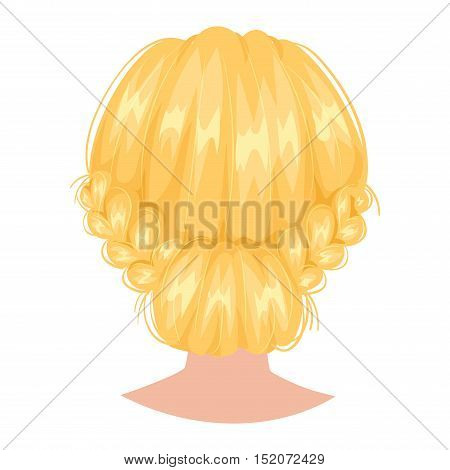 Vector design of beautiful of female hairstyle back view. Portrait beautiful woman hairstyle straight smooth hair. Styling woman hairstyle fashion pretty profile.