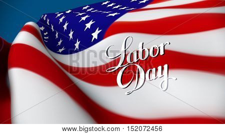 Labor Day. Vector illustration of United Sates of America flag and Labor Day lettering emblem. USA flag