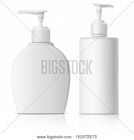 Realistic Cosmetic translucent bottle set. Dispenser for cream, soap, and other cosmetics. Template For Mockup Your Design. vector illustration.