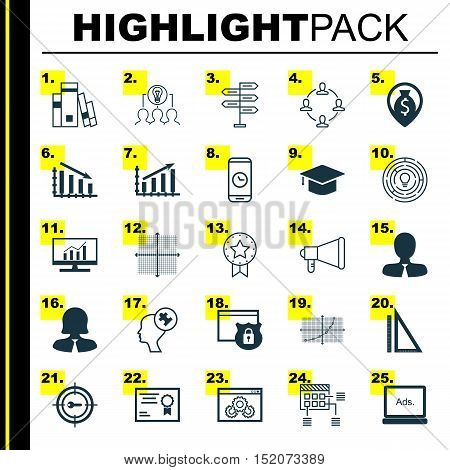 Set Of 25 Universal Editable Icons For Education, Statistics And Seo Topics. Includes Icons Such As