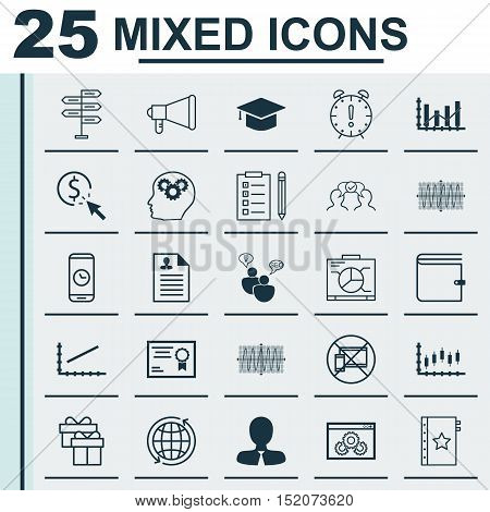 Set Of 25 Universal Editable Icons For Seo, Marketing And Business Management Topics. Includes Icons
