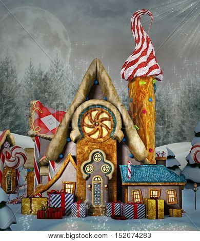 Gingerbread fantasy house in a winter scenery - 3D illustration