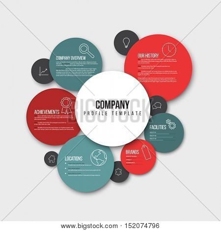 Vector Company infographic overview design template with content in the read and blue circles - light version