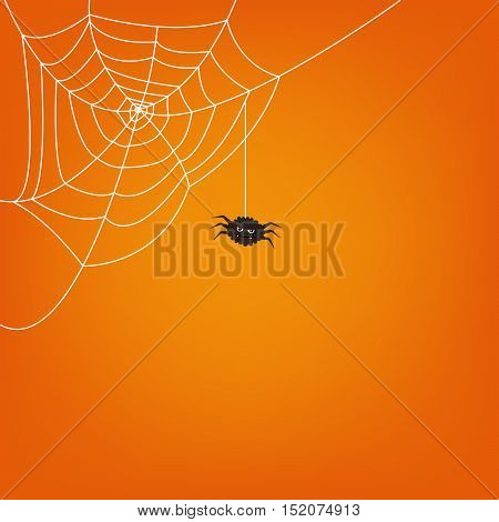 Halloween spider web and cute spider isolated on colored background. Hector venom cobweb set. Vector illustration.