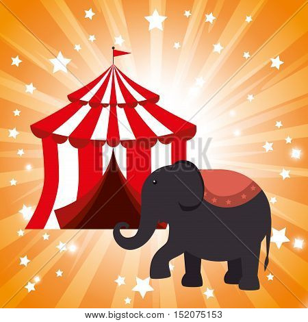 red and white striped tent circus and elephant show icon over orange background. colorful design. vector illustration
