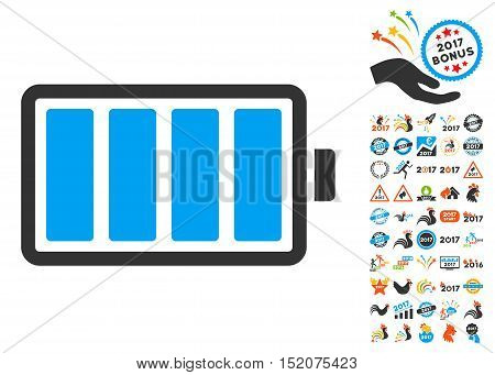 Battery pictograph with bonus 2017 new year images. Vector illustration style is flat iconic symbols, blue and gray colors, white background.