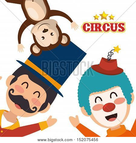 avatar happy man announcer with monkey and clown circus festival characters over white background. colorful design. vector illustration