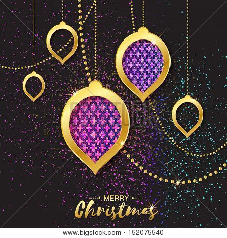 Merry Christmas Golden Glitter Pink Purple balls. Beautiful Decoration Bauble elements and garlands on back background. Happy New Year Greeting card. Vector design illustration