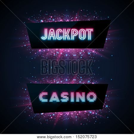 Jackpot advertisement template. Blue, purple and pink dust and beams on dark background. Geometric shape banners with text.