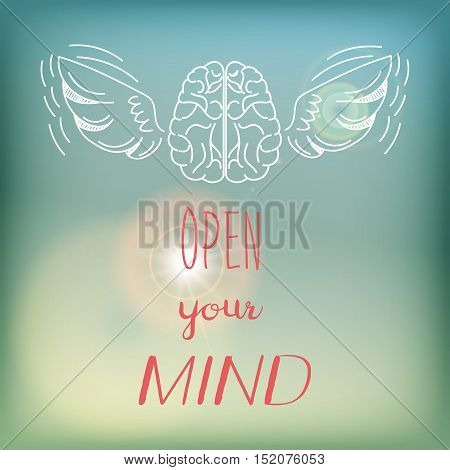 Motivation card or poster with bright blue sky and flare, pink lettering and white doodle - Open your mind.