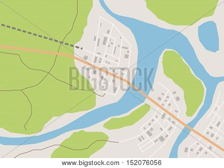 Vector flat abstract geographical country map with houses