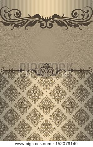 Old-fashioned ornate background with decorative borders and patterns. Book cover or vintage card design.