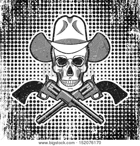 Vector - Skull in cowboy hat with revolvers, grunge vintage polka dot background.
