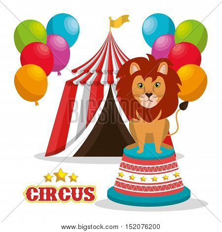 lion and red and white striped tent circus icon with balloons over white background. colorful design. vector illustration