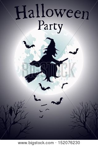Witch Flying on Broomstick Vector Template Witch Flying on Broomstick Vector Template