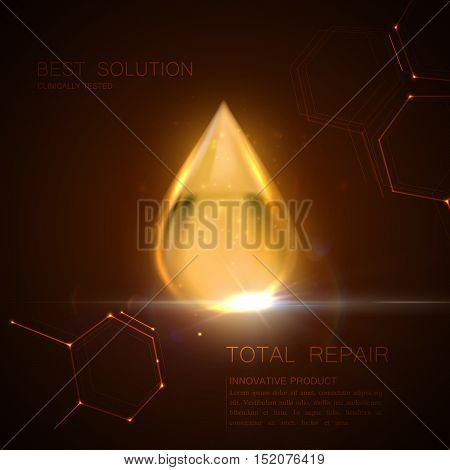Collagen serum or oil essence golden droplet with particles and lens flare light effect. Vector beauty illustration of clinically tested innovative product. Cosmetic skin or hair care treatment design