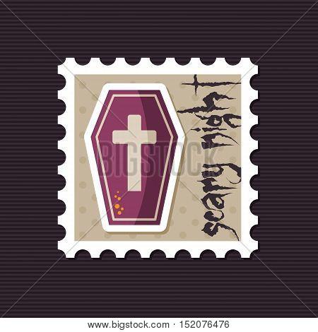 Halloween Coffin stamp vector illustration eps 10