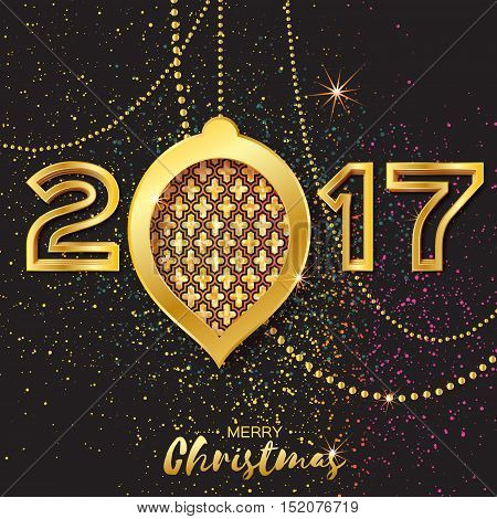 Merry Christmas Golden Glitter balls. Beautiful Decoration Bauble elements and garlands on back background. 2017 Happy New Year Greeting card. Vector design illustration