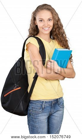 Friendly Young Girl with Rucksack Standing and Holding Book - Isolated