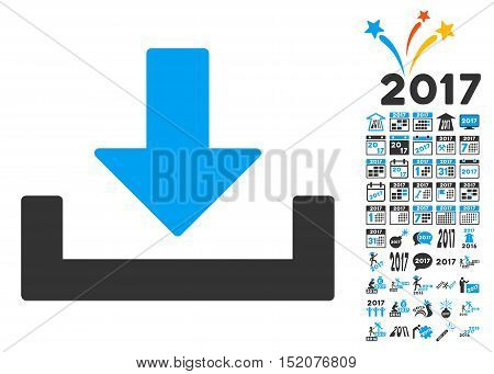 Download icon with bonus 2017 new year symbols. Vector illustration style is flat iconic symbols, blue and gray colors, white background.