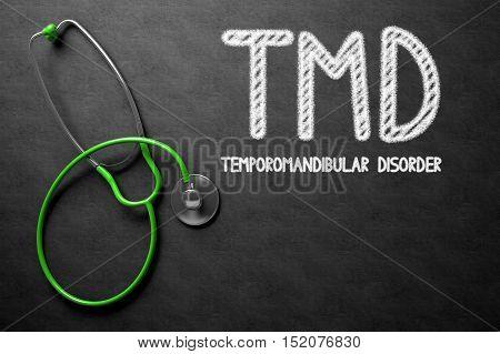 Medical Concept: TMD - Temporomandibular Disorder on Black Chalkboard. Medical Concept: Black Chalkboard with TMD - Temporomandibular Disorder. 3D Rendering.