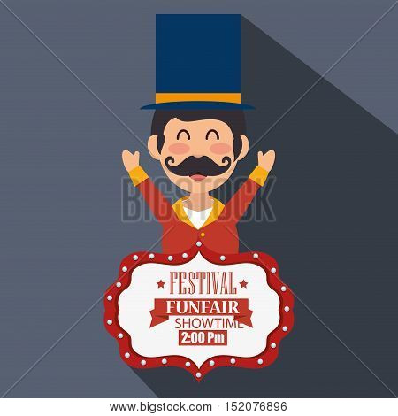 avatar happy man announcer circus festival over gray background. colorful design. vector illustration