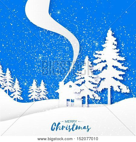 Merry Christmas and Happy New Year Greeting paper card. Origami landscape spruce rural house and text on blue background. Vector applique design illustration