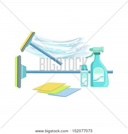 Window Washing Household Equipment Set. Clean Up Special Objects And Chemicals Composition Of Realistic Objects. Flat Vector Drawing On White Background