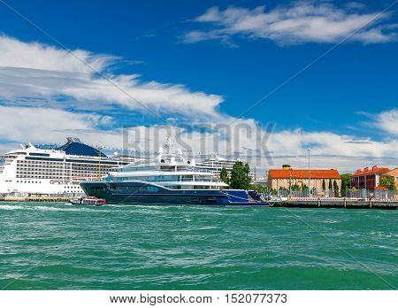 Passenger ships moored to the pier in the sea passenger port. Venice. Italy.
