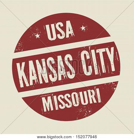 Grunge vintage round stamp with text Kansas City Missouri vector illustration