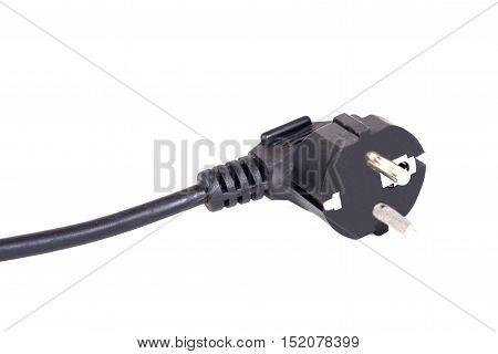 Black Electrical Plug on isolate white background