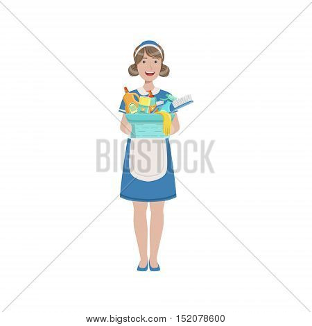 Hotel Professional Maid With Bucket Of Household Chemicals Illustration. Cleaning Lady Tiding Up With Special Inventory Simple Flat Vector Drawing.