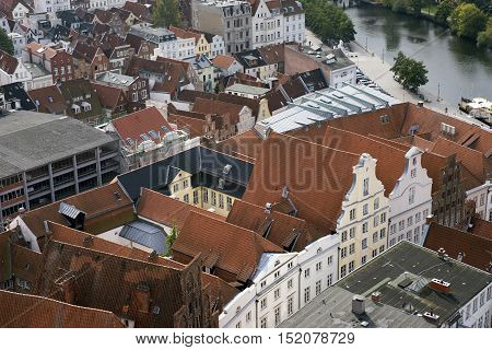LUBECK GERMANY - OCTOBER 13 2016: Aerial view of Lubeck in Germany. Lubeck is listed by UNESCO as a World Heritage Site.
