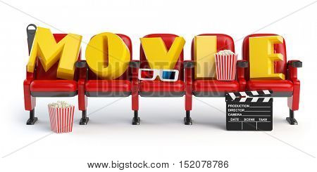 Cinema, movie video concept. Row of seats with popcorm, glasses and clapper board isolated on white. 3d illustration