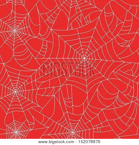 Halloween spider web seamless pattern with black spiders. Vector halloween background. Black red and white. Seamless vector cobweb background. Halloween invitation. Happy Halloween Poster.