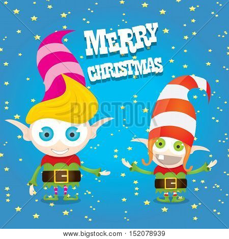 vector cartoon cute happy Christmas elf . merry christmas illustration