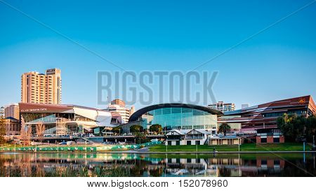 Adelaide Australia - September 11 2016: Adelaide Convention Centre viewed from the north side of Torrens river in Elder Park on a bright day