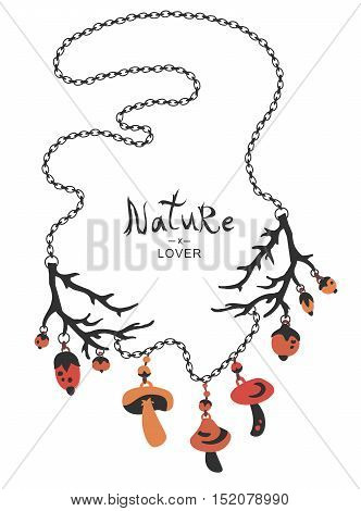 Boho ethnic nature lover necklace with mushrooms berries beads and branches.