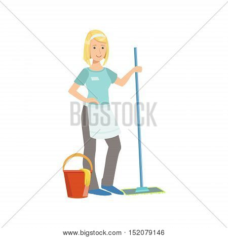 Hotel Professional Maid Washing The Floor Illustration. Cleaning Lady Tiding Up With Special Inventory Simple Flat Vector Drawing.