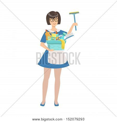 Hotel Professional Maid With Window Washing Equipment Illustration. Cleaning Lady Tiding Up With Special Inventory Simple Flat Vector Drawing.