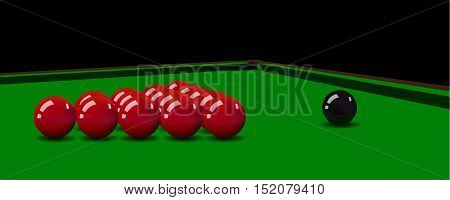 Vector realistic snooker balls on the table.