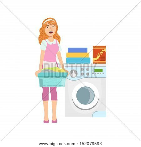 Hotel Professional Maid Doing Laundry Illustration. Cleaning Lady Tiding Up With Special Inventory Simple Flat Vector Drawing.