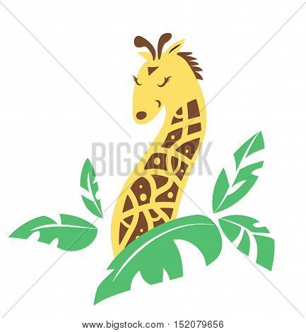 Cartoon tribal giraffe peeks out the grass at sunny day.