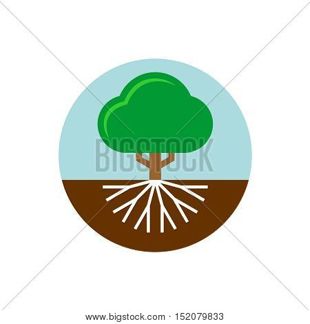 Tree with roots illustration. Trunk and crown of a plant with sky and earth round badge.