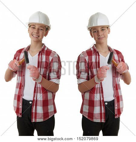 Set of cute teenager boy in red checkered shirt, building helmet and hammer over white isolated background, half body, constructing concept